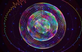 蓝色灯光闪烁酷炫动感椭圆连线动态演绎舞台栏目背景演出视频素材