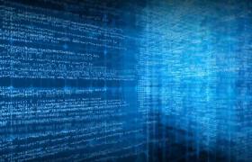 科技蓝色背景三维空间数字变动社会企业发展演绎动态循环背景视频素材
