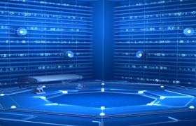 蓝色光线链接大气科技数字演绎舞台背景视频素材