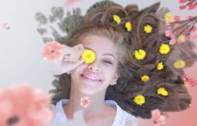 粉色少女系唯美花卉丛揭示个人写真相册图文展示AE模板
