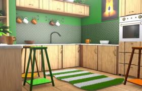 绿色清新简约厨房精品卡通室内设计C4D工程模型
