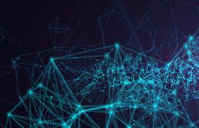 藍色科技粒子連線動態三維匯演科技星辰合成視頻素材
