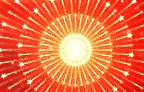红色背景党政五角星金色粒子拖尾环形扩散大气舞台演绎合成视频素材