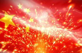 五星红旗飘舞金色粒子拖尾上升大气党政合成视频素材
