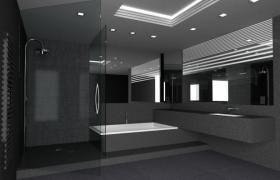 灰色系室内建模展示布局场景Cinema4d工程模型