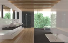 采光极好的大型豪华室内家居场景模型C4D源文件