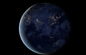 光效三维地球动态旋转唯美宇宙演绎合成视频素材