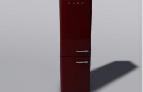 精致的红色立柜SMEG斯麦格意式冰箱C4D模型