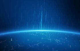 蓝色科技星球粒子上升大气清新合成视频素材