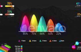 五款彩色信息化数据图标动画演绎预设AE模板Infographic Modern Graphs