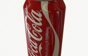 红色易拉罐Coca Cala夏季碳酸冰饮C4D模型