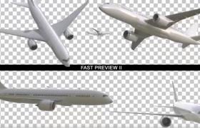 16个带抠像Alpha透明通道的白色三维飞机MOV视频素材