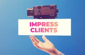簡潔圖形轉場繽紛時尚生活圖文展示正能量宣傳片頭視頻AE模板Powerful Opener