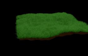 超高清晰度的一塊綠色草坪C4D環境寫實模型(可疊加使用)