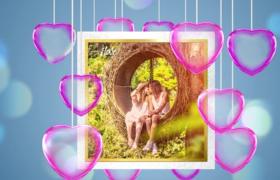 爱心悬挂唯美浪漫情人节爱情主题图文展示开场片头视频AE模板Valentine's Day Opener Promo
