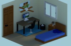 卡通风简约独立的个人起居室living room 3维模型下载