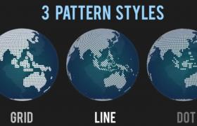 三種貼圖智能地球世界地圖快速生成方案預設AE模板Smart Pattern Globe - World Map Gene