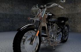 硬派朋克风黑色复古拉风摩托机车C4D模型(含贴图)