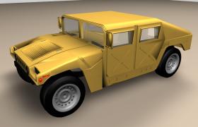 彪悍的黄色悍马H2军事化硬派越野车C4D模型