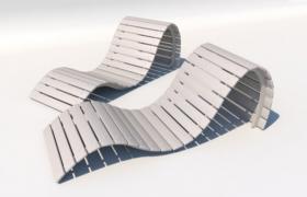 凹凸造型橫向木條沙灘休閑躺椅C4D模型展示
