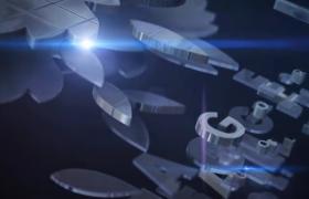 镀银大气空间3D科技标志堆叠效果质感动态标志展示AE模板Stack Logo Reveal