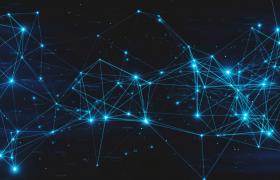 闪耀蓝色Plexus空间网状线条结构科技馆特效MOV背景视频
