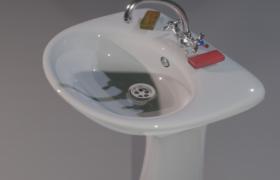 干净整洁的白色陶瓷工艺浴室洗脸台3D模型(.blend)