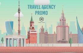 卡通风格创意旅游社旅游机构业务商业宣传动画AE模板Travel Agency Promo