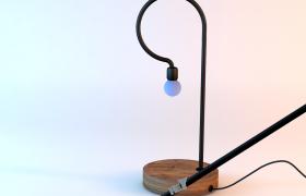 复古木艺弯钩型创意装饰台灯家居装饰设备C4D模型