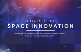 未來科技主題大氣粒子連線空間三維視覺圖文展示高新企業宣傳短片AE模板Space Innovation Presentat