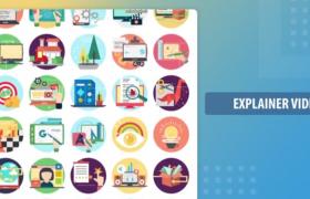 三十组卡通创意工作流程展示演绎图标场景动画预设标志AE模板Creative Process Animation Icon