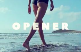 创意活力一夏简介图文沙滩秀遮罩文字相册照片展示片头AE模板Slideshow