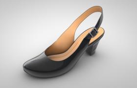 黑漆舞女小高跟鞋女士鞋子舞蹈鞋C4D模型(含贴图)