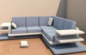 年轻化设计简约家居软性坐垫沙发C4D模型(含贴图)