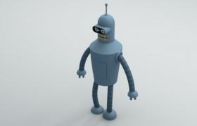 蓝色极简风插头卡通机器人影视人物角色C4D模型