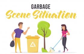 AE-創意卡通風格剪紙人物垃圾分類回收公益宣傳視頻模板