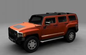 橙色金属喷漆中大型SUV硬派家用型越野汽车3D模型(.max格式)