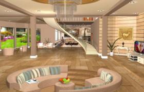 豪华装修高档次室内设计楼中楼建筑空间场景3D模型展示
