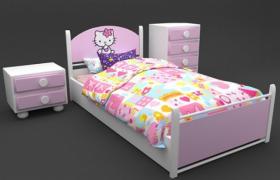 女生閨房粉色系蘿莉hello kitty可愛吉蒂貓雙人床3d max模型