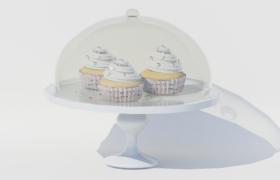 精美白色蛋糕托盘中的下午茶奶油蛋糕3D模型(含贴图)