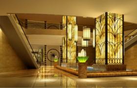 富丽堂皇的豪华酒店大堂3维场景模型展示(含效果图)