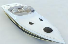 海上追逐交通工具纯白色快艇3D模型