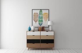 時尚藝術插畫現代客廳邊柜家居陳設擺件3D模型(含效果圖)