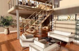 现代清新简约木艺创意性跃层式室内场景设计3D效果图模型展示
