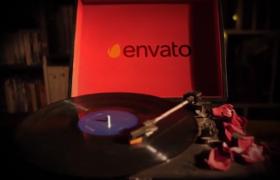 AE模板-浪漫温馨的唱片机展示文字七夕情人节表白开场片头视频模板