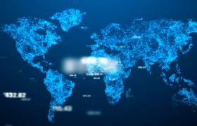 視頻素材-全球地圖經濟粒子連線數字漂浮藍色科技風經濟發展視頻素材