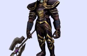 手持战斧的铁甲战士游戏宣传角色3D效果模型展示