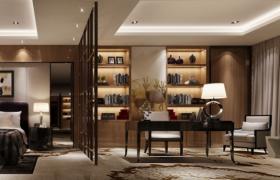 高品质格调设计品质家装现代书斋书房3D室内场景模型