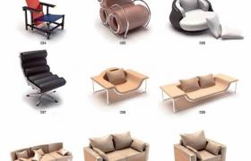 時尚家居裝飾家居工藝品客廳時尚沙發3D max模型合集素材包下載