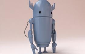 可爱的卡通直筒机器人玩具3D模型(含贴图)